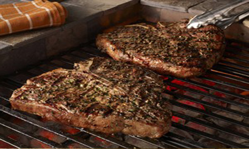 Grilled Porterhouse Steaks With Garlic-Herb Peppercorn Crust